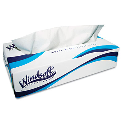 Windsoft Facial Tissue in Pop-Up Box, 2-Ply, White,