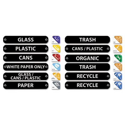 Rubbermaid Commercial Recycle Label Kit, 44 Labels in Three