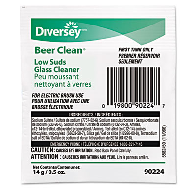 Diversey Beer Clean Glass Cleaner, Unscented, Powder,