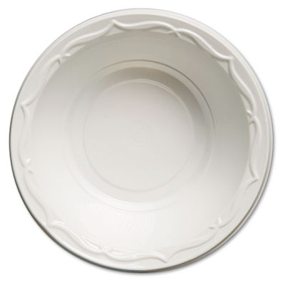 Genpak Aristocrat Plastic Bowls, 12 Ounces, White,
