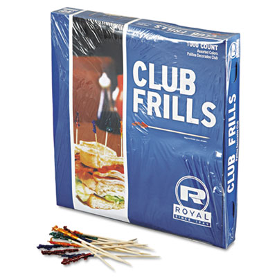 "Royal Club Cellophane-Frill Wood Picks, 4"", Assorted"