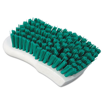 "Boardwalk Green Polypropylene Bristle Scrub Brush, 6"","