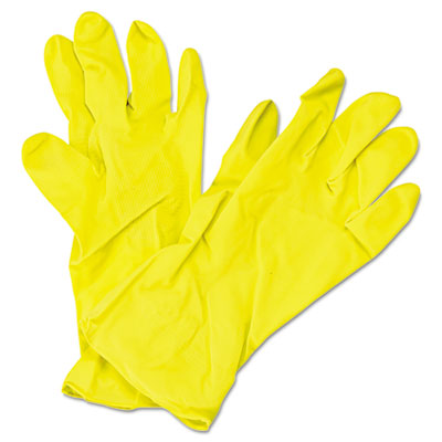 Impact Flock Lined Latex Gloves, Yellow, 12 in Length,
