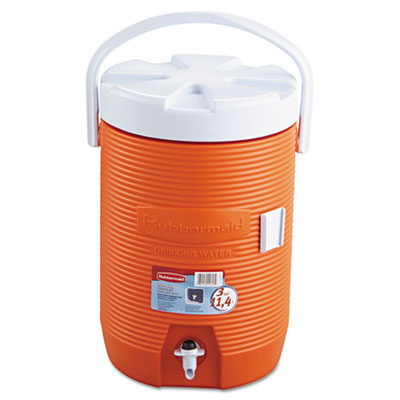 Rubbermaid Water Cooler, 12 1/2dia x 16 3/4h, Orange