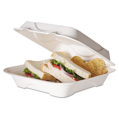 Eco-Products Bagasse Hinged Clamshell Containers, 9w x 9d