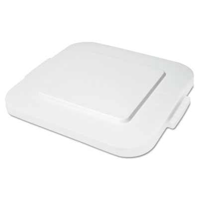 Rubbermaid Commercial Square Brute Lid, Flat Top, White,