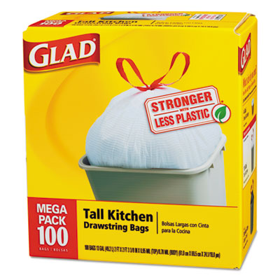 Glad Drawstring Tall Kitchen Bags, 13 gallon, .95mil, 24 x