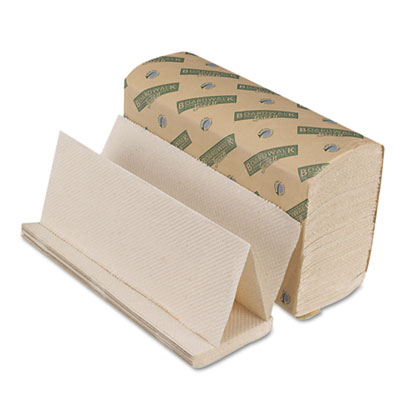 Boardwalk Green Folded Towels, Multi-Fold, Natural