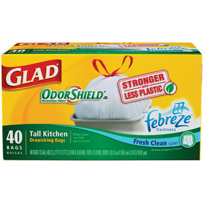 Glad OdorShield Tall Kitchen Bags, 13 gal, 24 x 28, White,