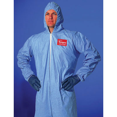 DuPont Tempro Elastic-Cuff Hooded Coveralls, Blue,