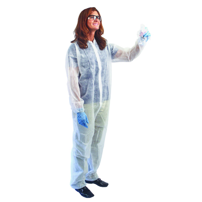Impact Disposable Coveralls with Collar, Large, White,