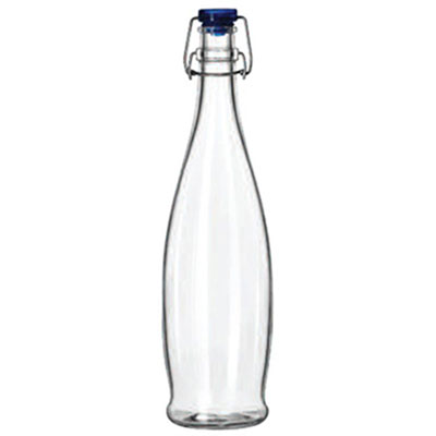 Libbey Glass Water Bottle with Wire Bail Lid, 33 7/8
